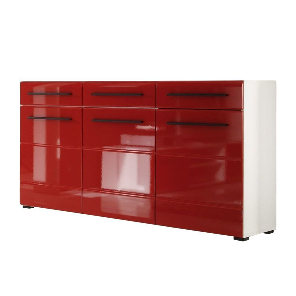 sideboard motley hochglanz rot wei schrank kommode. Black Bedroom Furniture Sets. Home Design Ideas