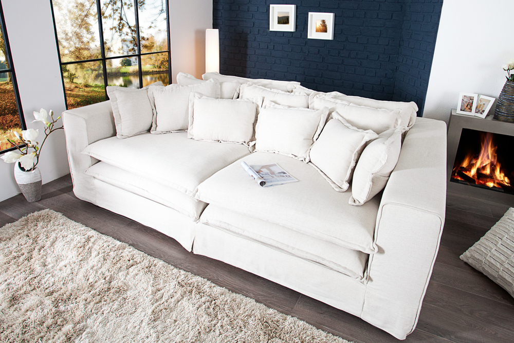 big sofa xxxl hussensofa cloud creme leinen stoff hussen 240cm wohnlandschaft ebay. Black Bedroom Furniture Sets. Home Design Ideas