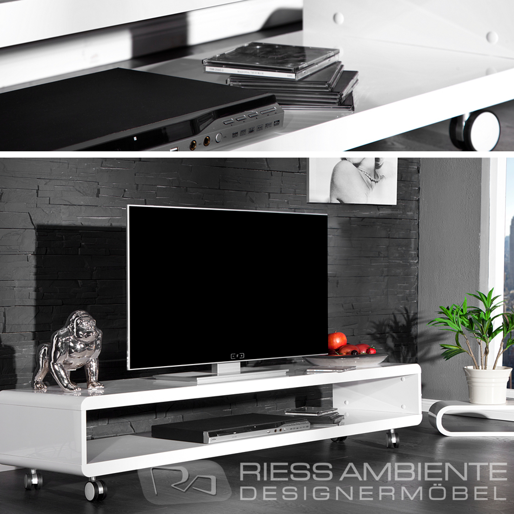 design tv board lowboard cast weiss hochglanz fernsehtisch board mit rollen ebay. Black Bedroom Furniture Sets. Home Design Ideas