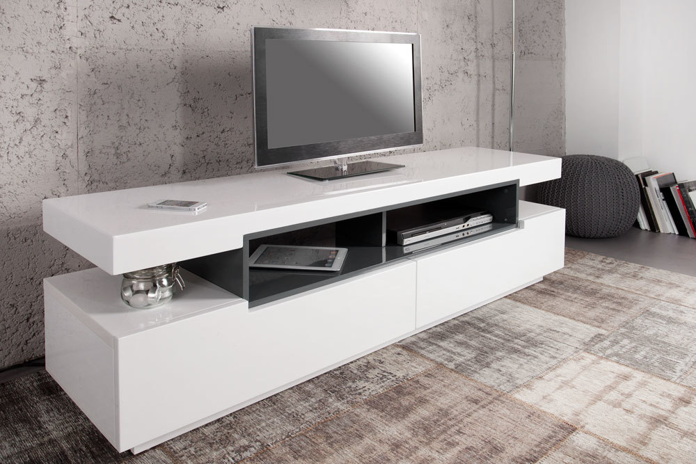 design tv board lowboard mammut hochglanz wei grau 160cm. Black Bedroom Furniture Sets. Home Design Ideas