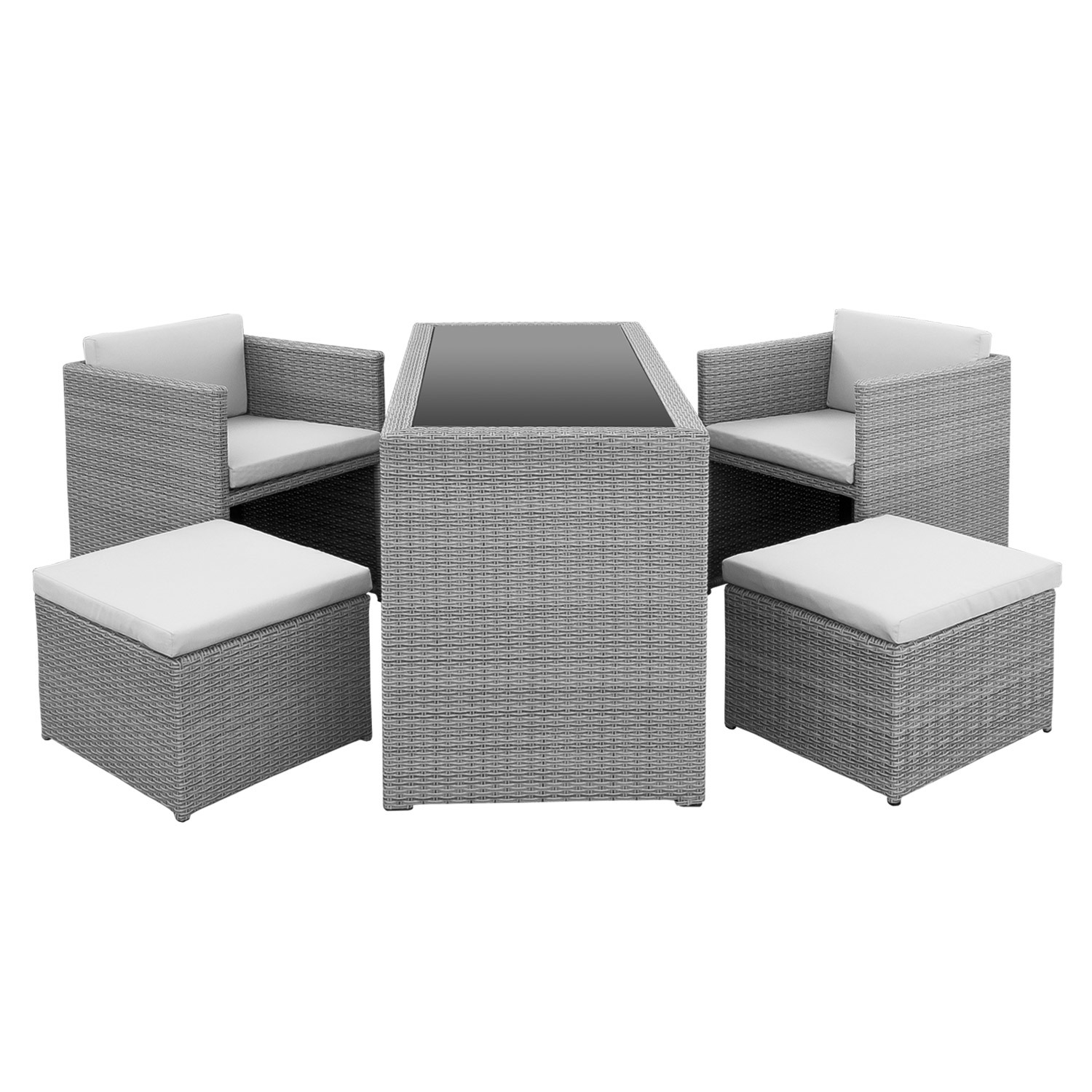 gartenm bel set polyrattan stapelst hle grau. Black Bedroom Furniture Sets. Home Design Ideas