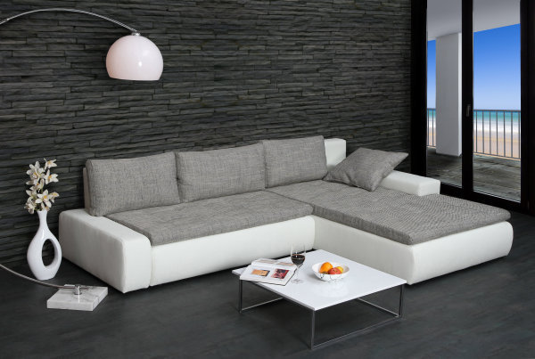 design ecksofa shape weiss strukturstoff grau couch sofa. Black Bedroom Furniture Sets. Home Design Ideas