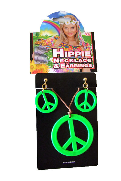 hippie schmuck set neon kette ohrringe zum 70er 80er jahre. Black Bedroom Furniture Sets. Home Design Ideas