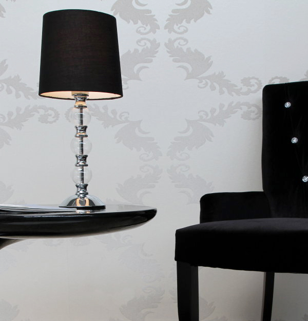 design tischlampe piana schwarz silber chrom edele tischleuchte lampen leuchte ebay. Black Bedroom Furniture Sets. Home Design Ideas