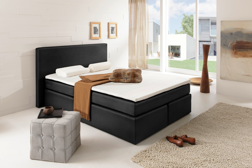 boxspringbett rochelle 140x200 cm anthrazit mit matratze hotelbett federkern ebay. Black Bedroom Furniture Sets. Home Design Ideas