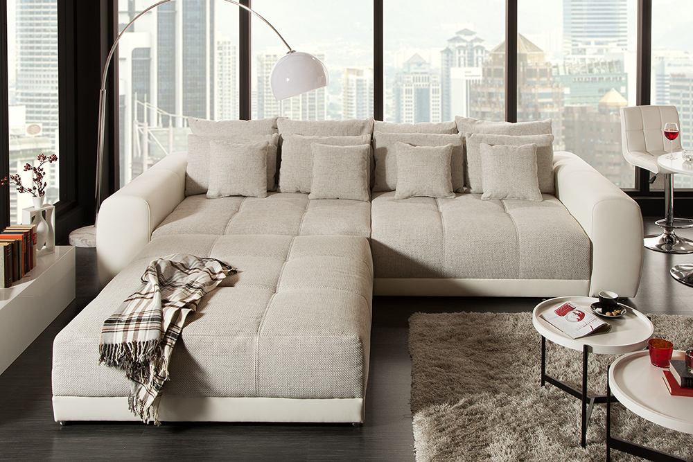 XXL Sofa GIANT LOUNGE in Greige Couch Wohnlandschaft Big