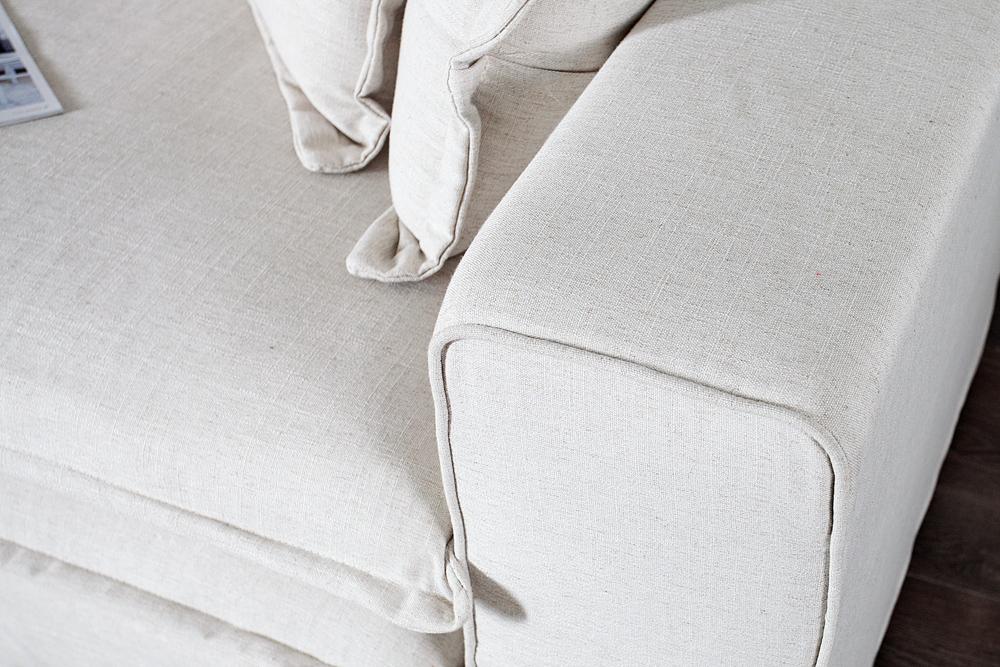 Big Sofa XXXL Hussensofa CLOUD creme Leinen Stoff Hussen 230cm ...