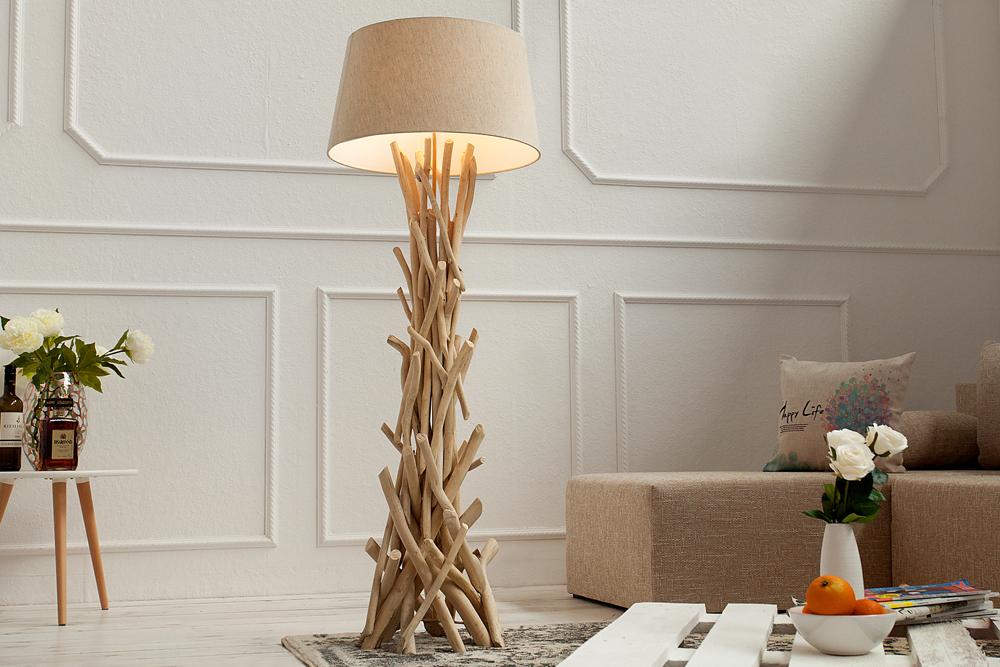treibholz stehlampe cara 155 cm sand stehleuchte leuchte. Black Bedroom Furniture Sets. Home Design Ideas
