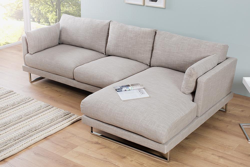 modernes ecksofa manhattan 270 cm sand leinen eckcouch couch sofa mit kissen ebay. Black Bedroom Furniture Sets. Home Design Ideas