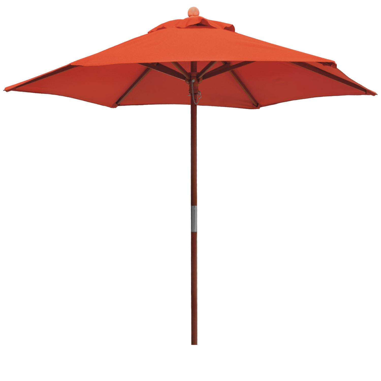 balkonschirm sonnenschirm 2m rund terra orange holz stamm 6 streben anndora ebay. Black Bedroom Furniture Sets. Home Design Ideas