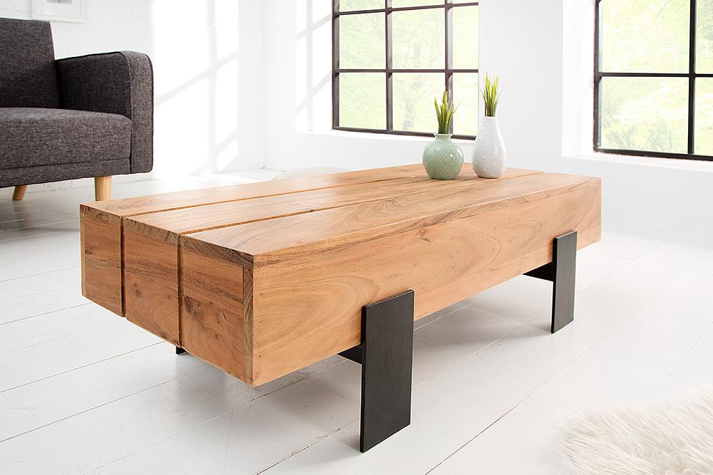 couchtisch akazie lumberjack natur gestell matt schwarz tisch beistelltisch ebay. Black Bedroom Furniture Sets. Home Design Ideas