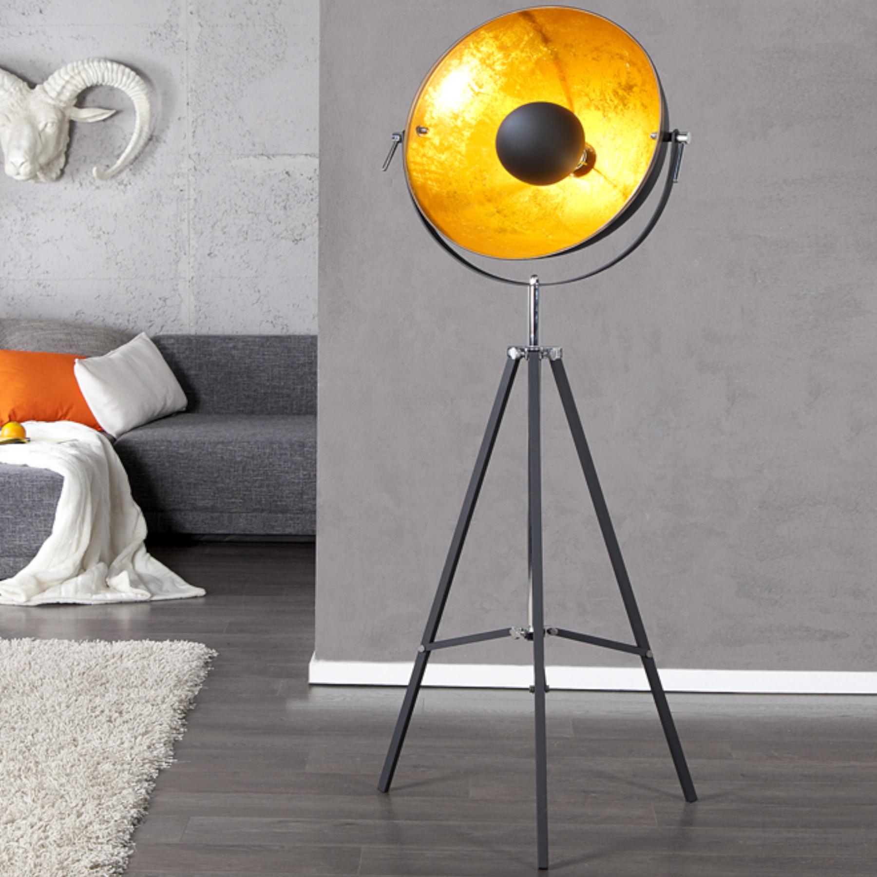 Industrial Design Stehlampe Big Studio 160cm Schwarz Gold