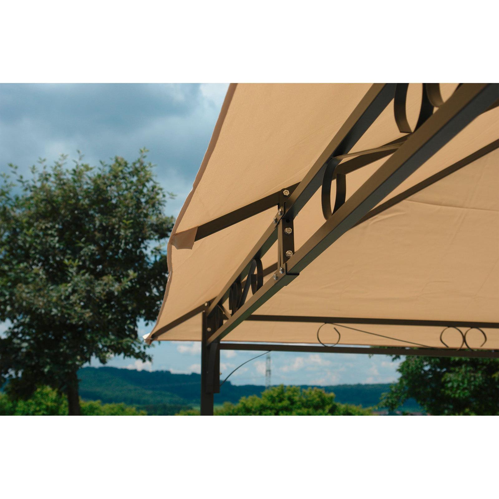 pavillon gartenpavillon garten sonnenschutz berdachung metall 3x4m beige ebay. Black Bedroom Furniture Sets. Home Design Ideas
