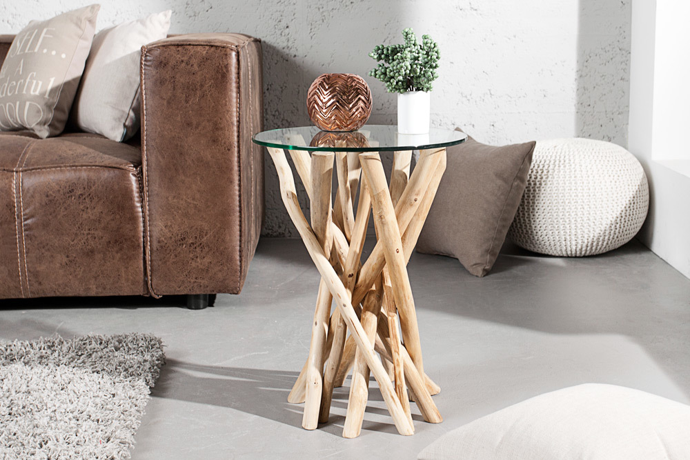 design beistelltisch driftwood treibholztisch mit glasplatte glastisch ebay. Black Bedroom Furniture Sets. Home Design Ideas