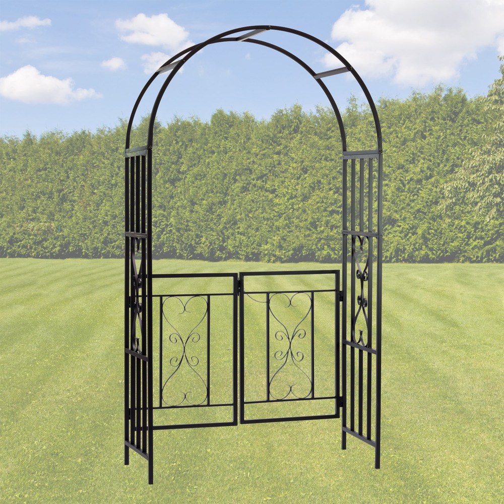 rosenbogen torbogen rankhilfe rankgitter pergola metall schwarz dover ebay. Black Bedroom Furniture Sets. Home Design Ideas