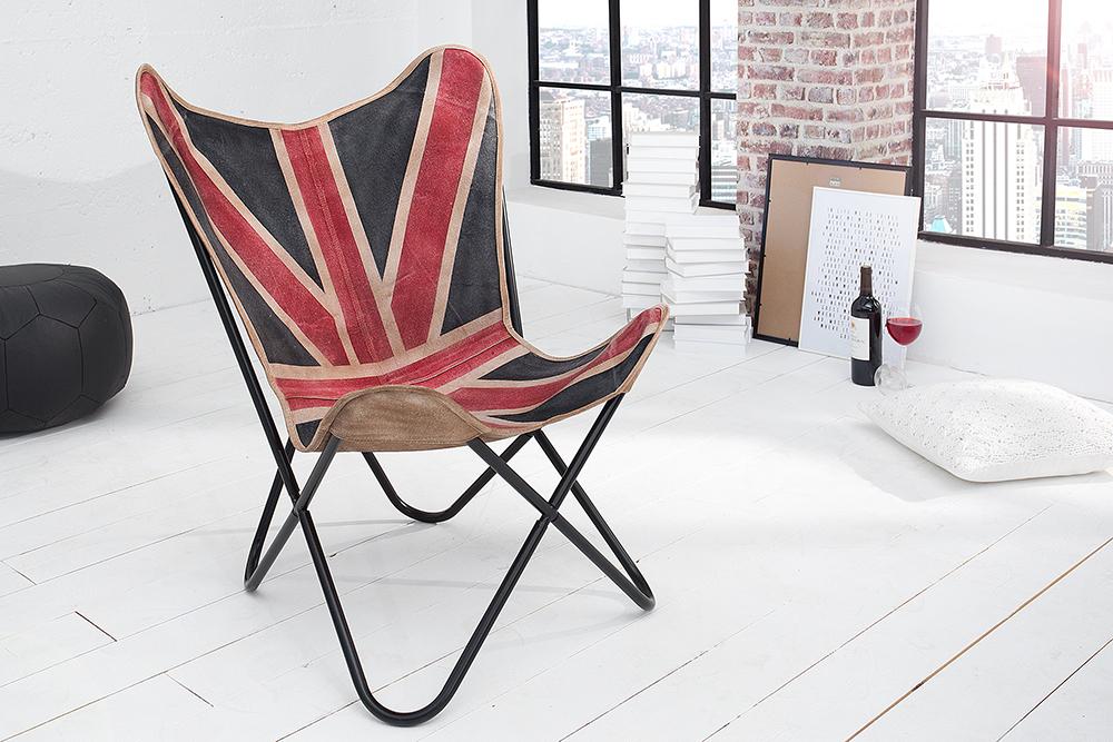 Design lounge sessel butterfly union jack eisengestell for Sessel union jack