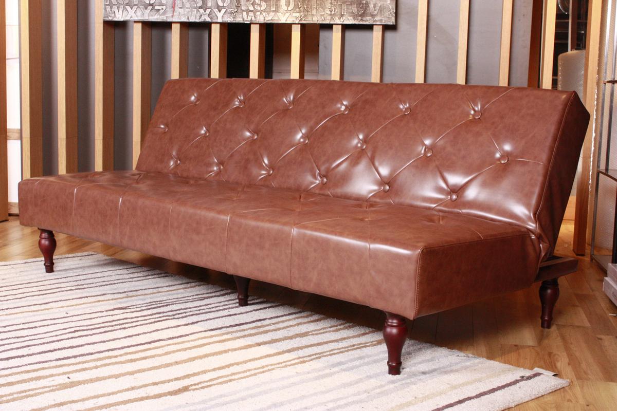 kawola sofa schlafsofa vintage kunstleder braun ebay. Black Bedroom Furniture Sets. Home Design Ideas