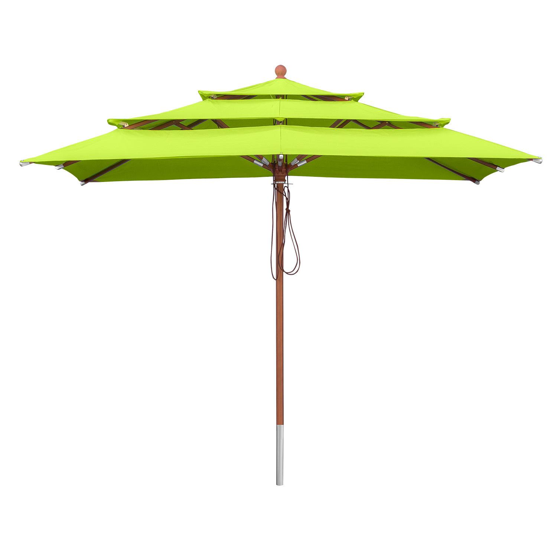 Sonnenschirm Gartenschirm 3 Etagen ø 3 m rund Natural Holzschirm anndora
