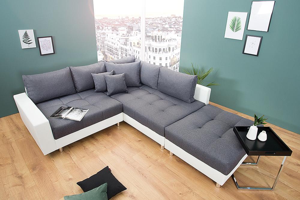 wohnlandschaft kent 220cm anthrazit wei inkl hocker und kissen sofa couch ebay. Black Bedroom Furniture Sets. Home Design Ideas