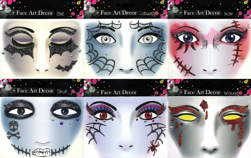 face art glitzer tattoo sticker gesicht makeup zum grusel kost m hexe vampir ebay. Black Bedroom Furniture Sets. Home Design Ideas
