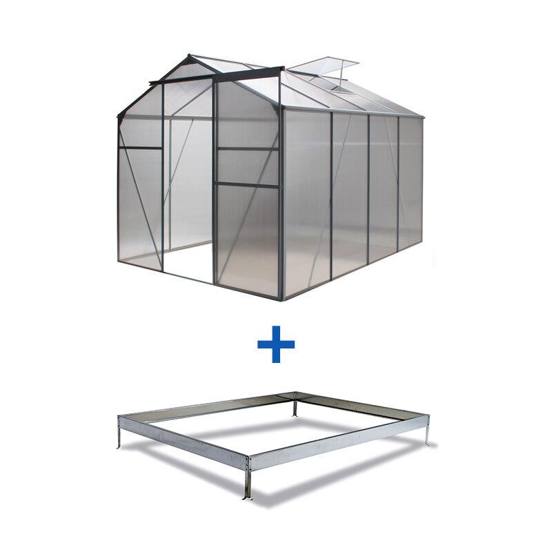 alu gew chshaus fr hbeet treibhaus basic inkl fundament 4 75 m 250x191x185 cm ebay. Black Bedroom Furniture Sets. Home Design Ideas