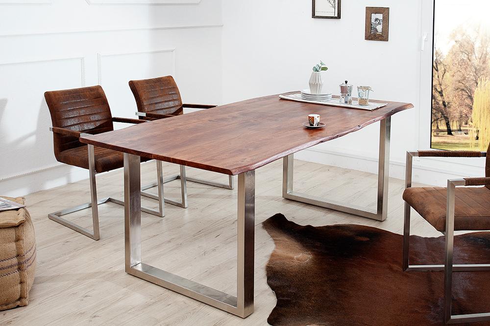 massiver esstisch mammut braun kufengestell tisch esszimmertisch holztisch ebay. Black Bedroom Furniture Sets. Home Design Ideas