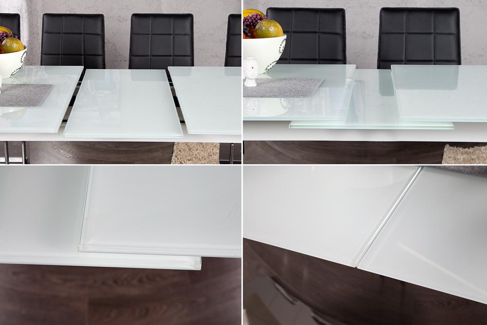 ausziehbarer esstisch concord glastisch wei 180 220cm esstisch k chentisch ebay. Black Bedroom Furniture Sets. Home Design Ideas