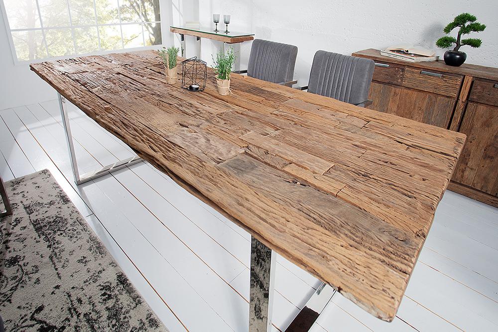 Esstisch BARRACUDA Antik Teak Holz Mit Stahl Kufenfüßen