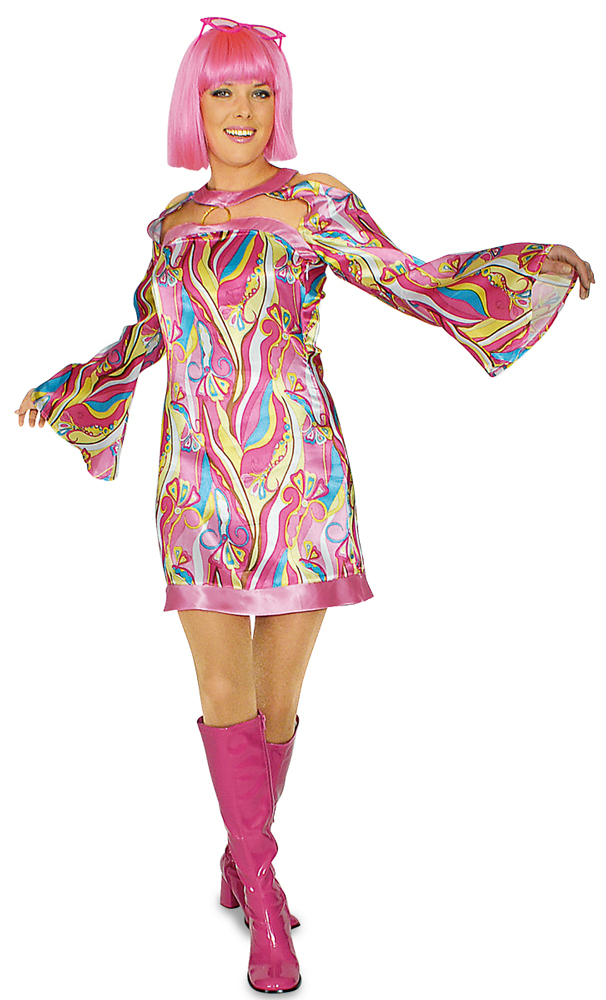 Hippie kleid pinkshine 70er 80er jahre kost m flower power for Accessoires 80er party