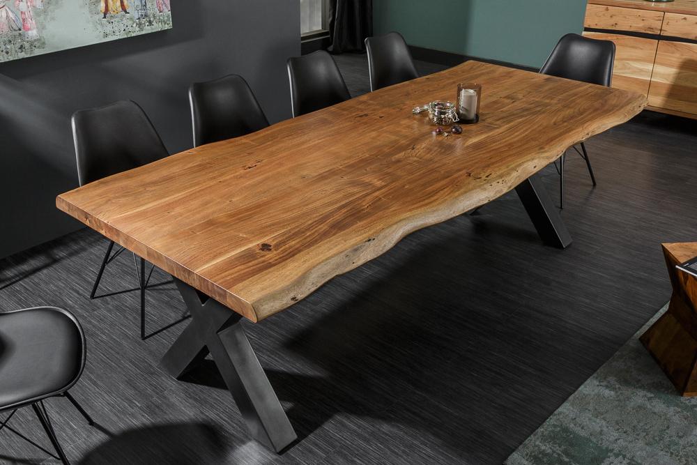 Massiver Baumstamm Esstisch MAMMUT NATURE 240cm Akazie 6cm Tischplatte Baumkante   eBay