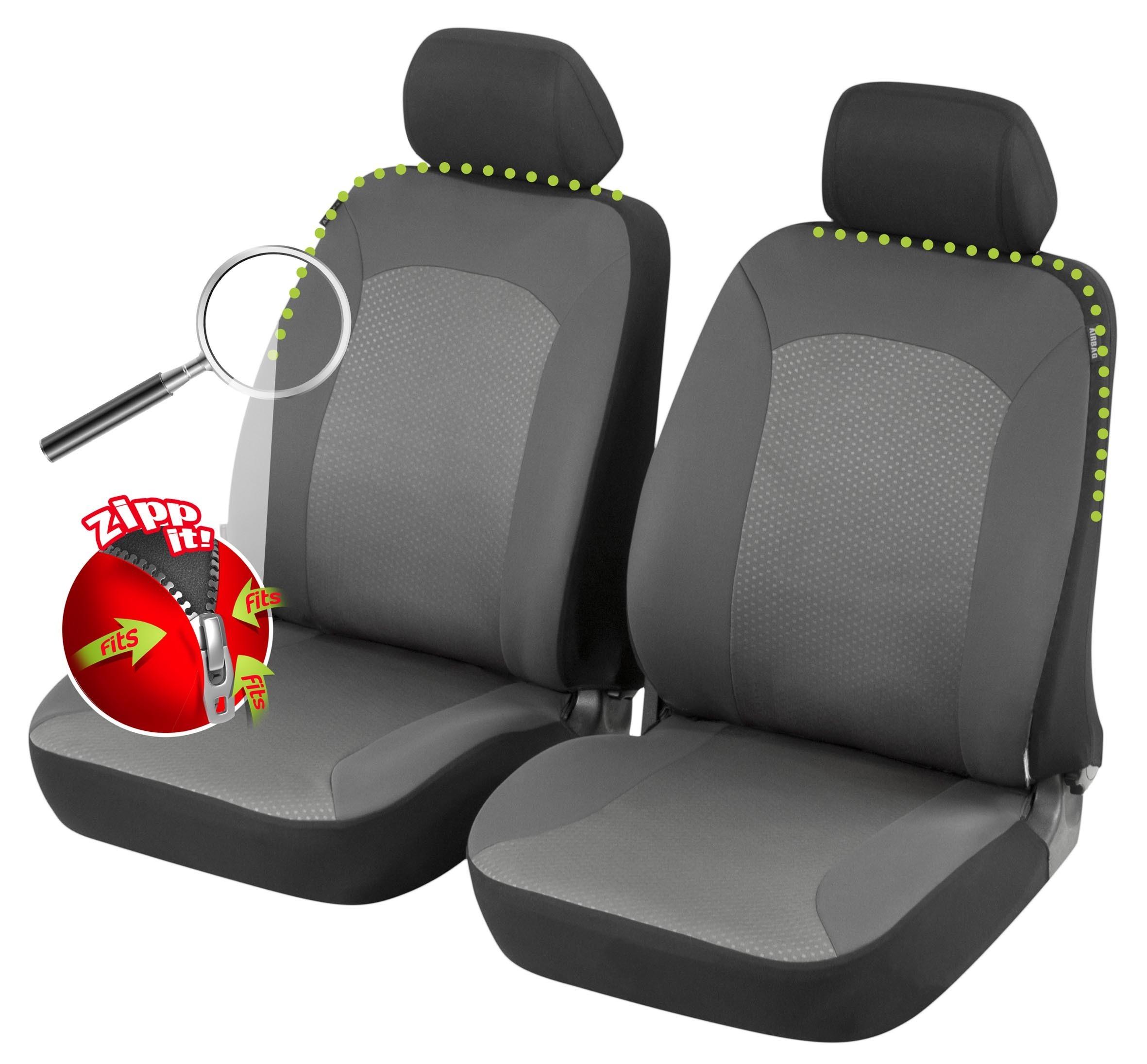 Vordersitzbezüge Sitzbezüge Schonbezüge Schwarz Universal passend für DACIA