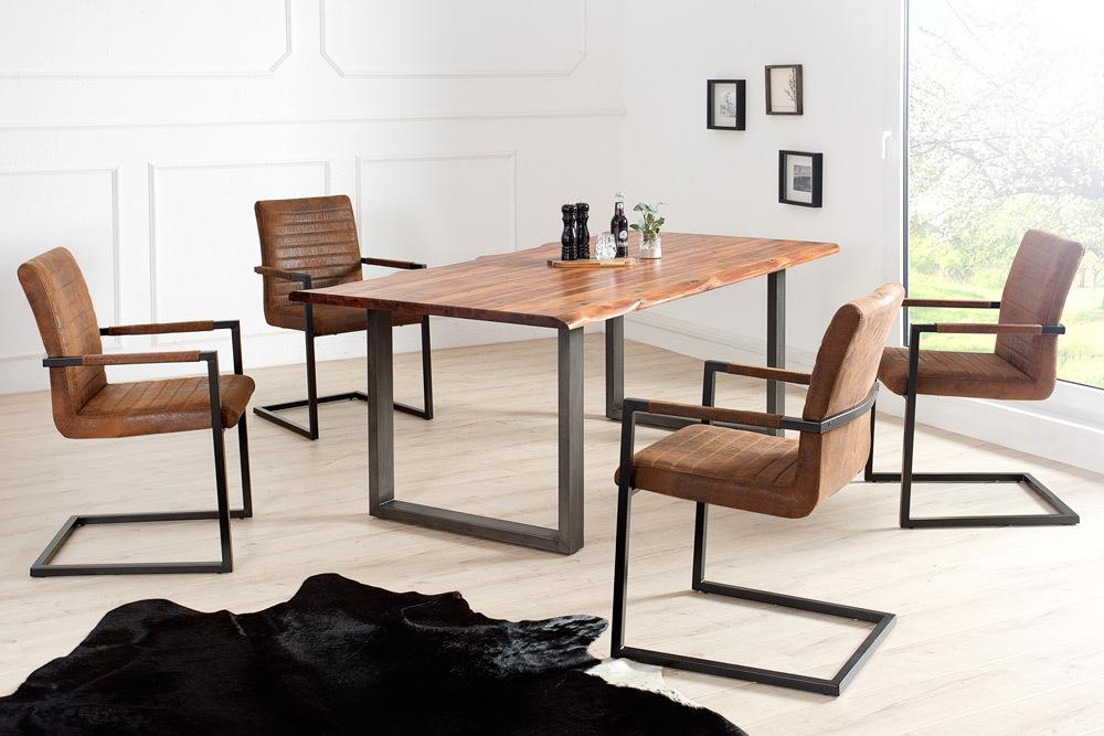 freischwinger stuhl imperial gepolsterte armlehnen edelstahlgestell schwingstuhl ebay. Black Bedroom Furniture Sets. Home Design Ideas