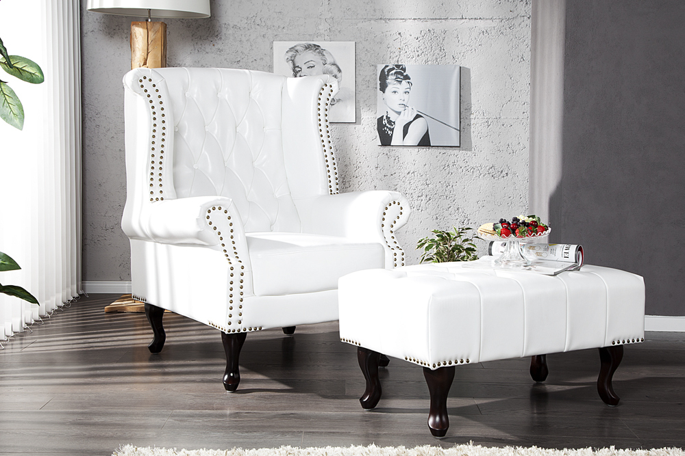 Chesterfield Sofa Sessel Weiß matt Nieten Couch