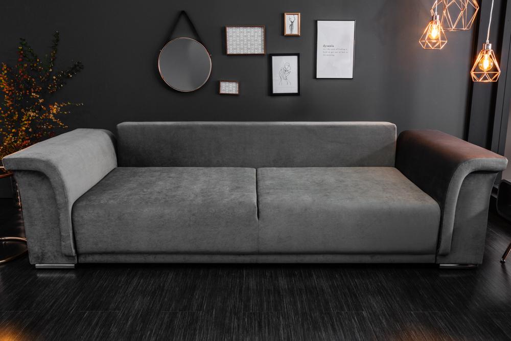 elegantes big xl sofa bellina hellgrau samt schlaffunktion. Black Bedroom Furniture Sets. Home Design Ideas
