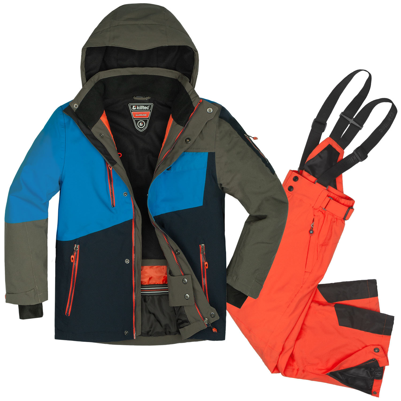 Killtec Skianzug Jungen 164 blau gelb Schneeanzug Skijacke Skihose