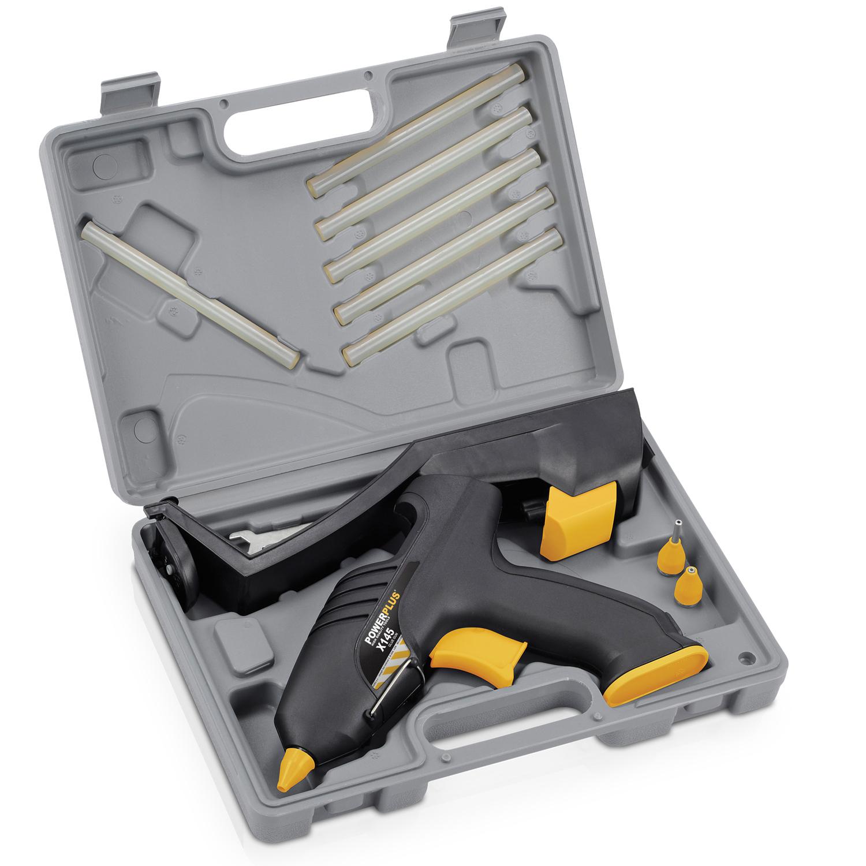 Powerplus Heißklebepistole kabellos 6 Klebestifte Wechseldüsen Koffer Set