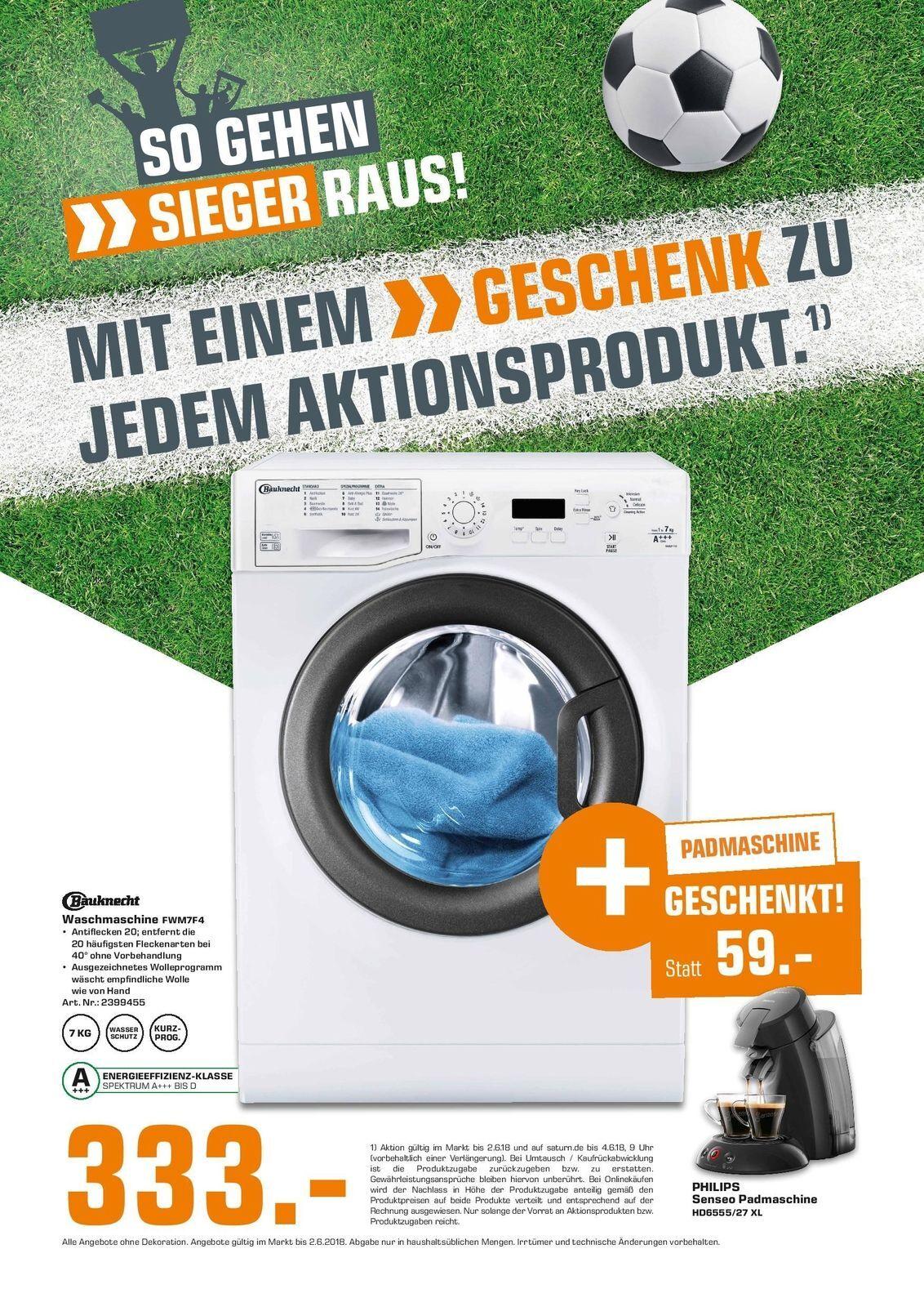 Bauknecht FWM7F4 Waschmaschine 7kg Philips Senseo HD6555 27 XL Kaffeemaschine