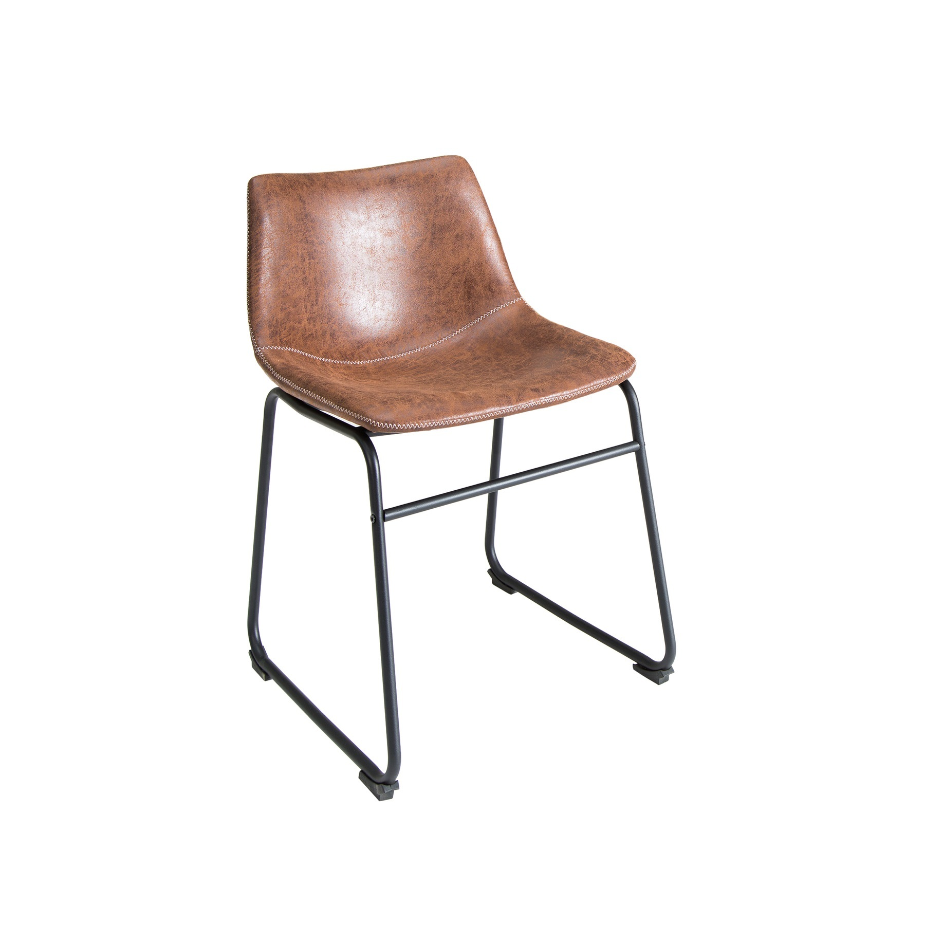Design stuhl django vintage braun mit eisengestell for Design stuhl vintage