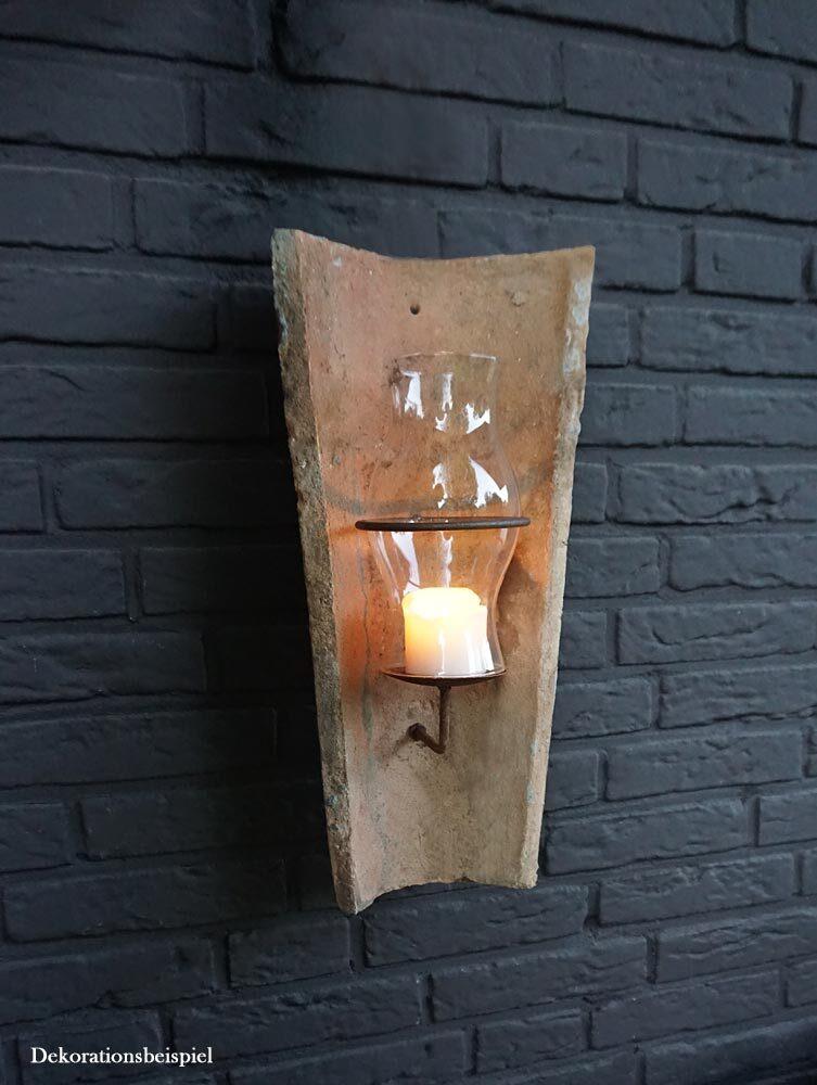 zeitzone original antiker dachziegel wandkerzenhalter mit glas windlicht ebay. Black Bedroom Furniture Sets. Home Design Ideas