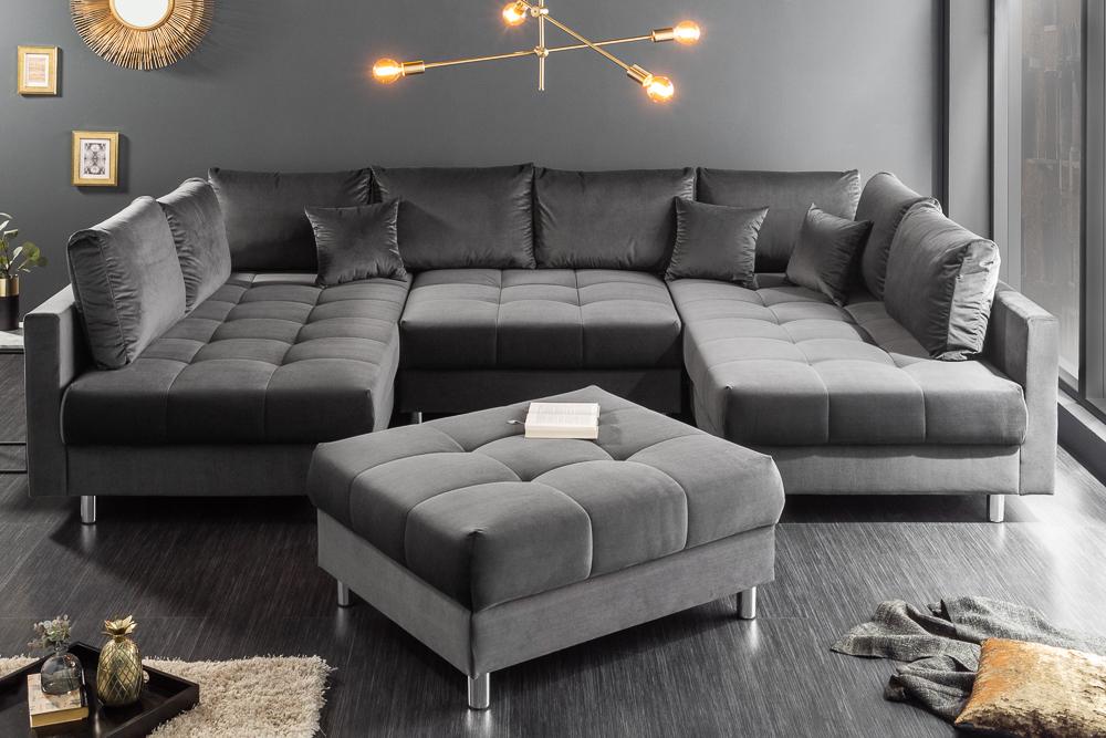 Details Zu Moderne Xxl Wohnlandschaft Kent 305cm Grau Samt Federkern Mit Hocker U Form Sofa