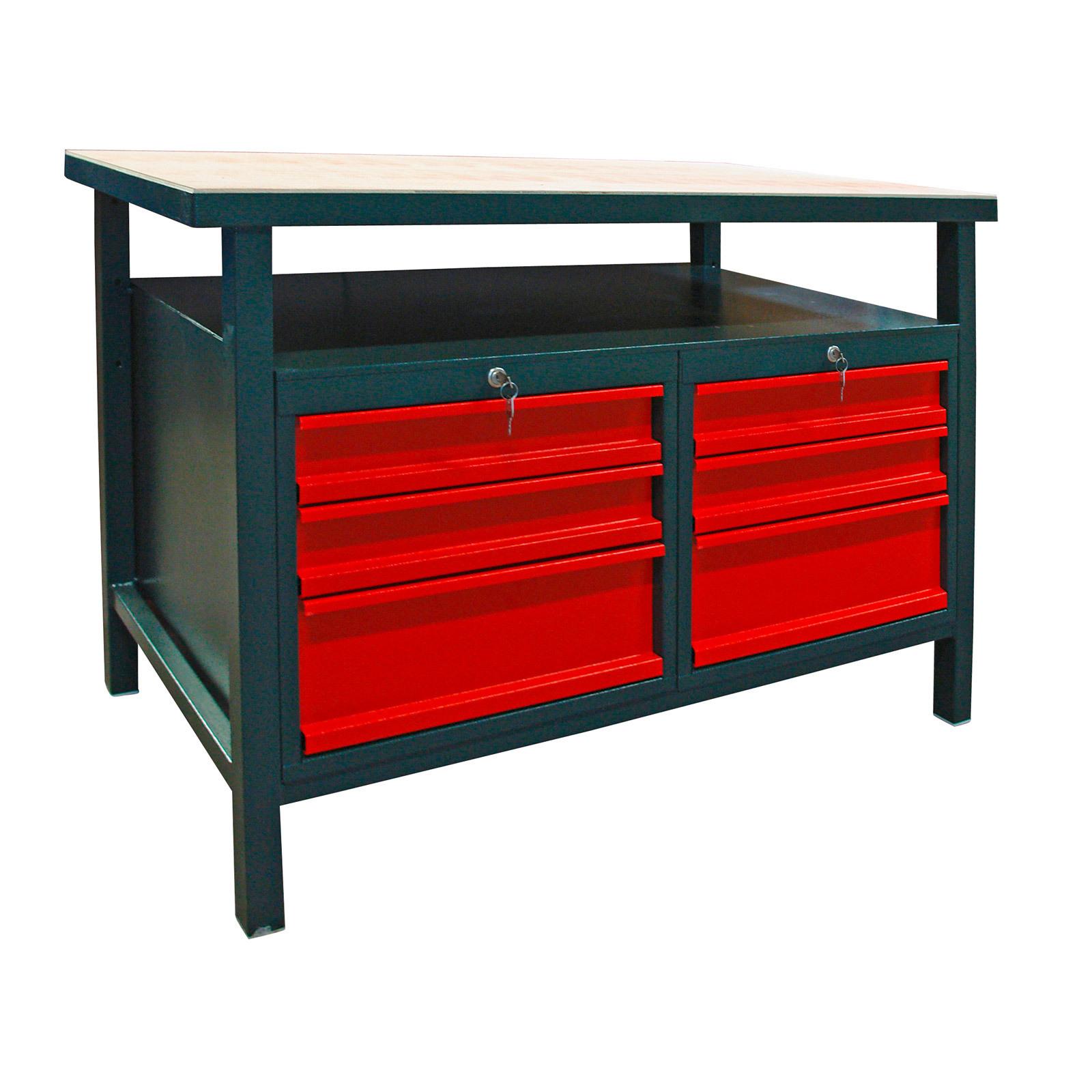 profi werkstatt werkbank werktisch arbeitstisch mit 6 schubladen rot anthrazit ebay. Black Bedroom Furniture Sets. Home Design Ideas