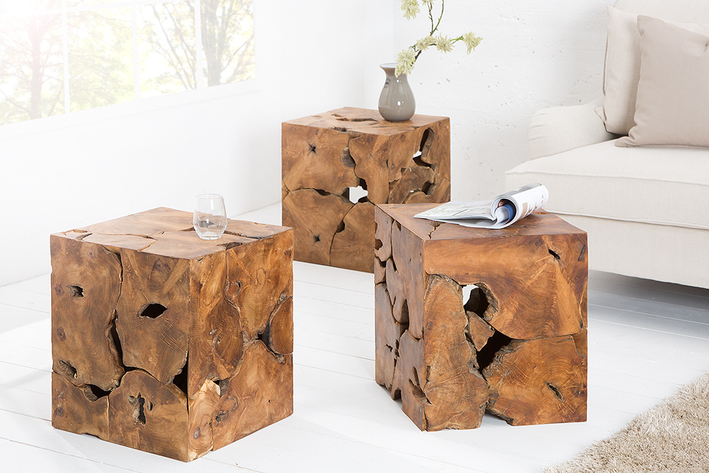massiver baumstamm couchtisch square teakholz 45 cm w rfel hocker beistelltisch ebay. Black Bedroom Furniture Sets. Home Design Ideas