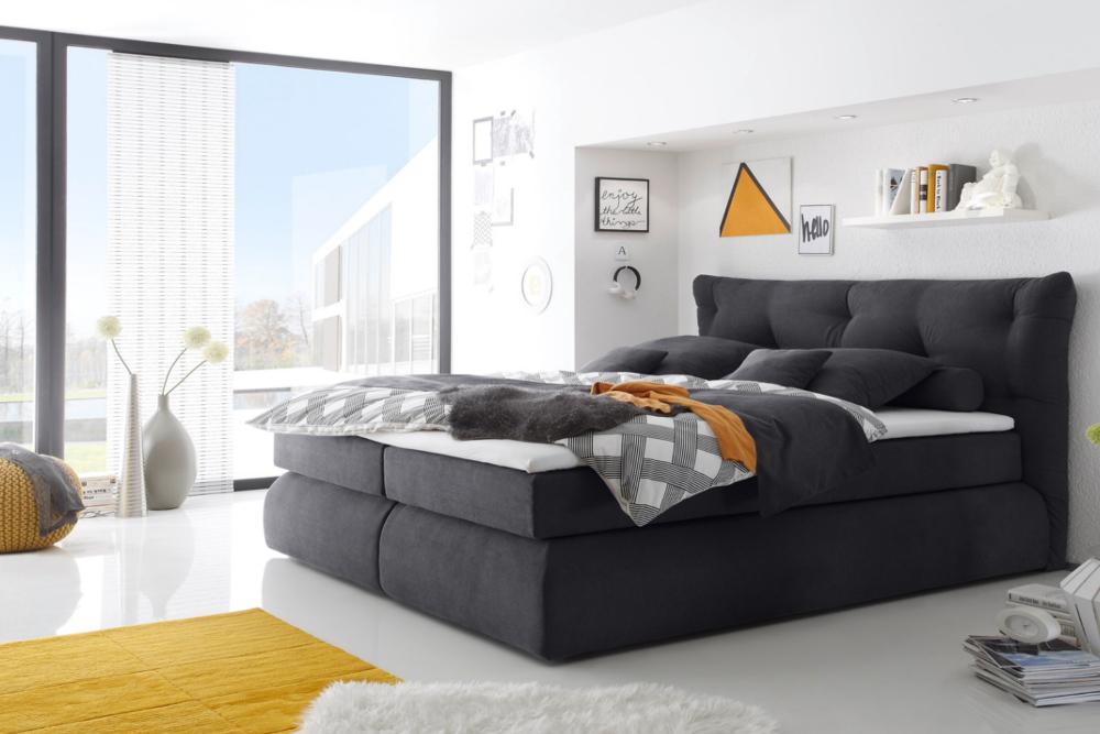 boxspringbett cloud 180x200 cm anthrazit bett mit microvelour bezug ebay. Black Bedroom Furniture Sets. Home Design Ideas