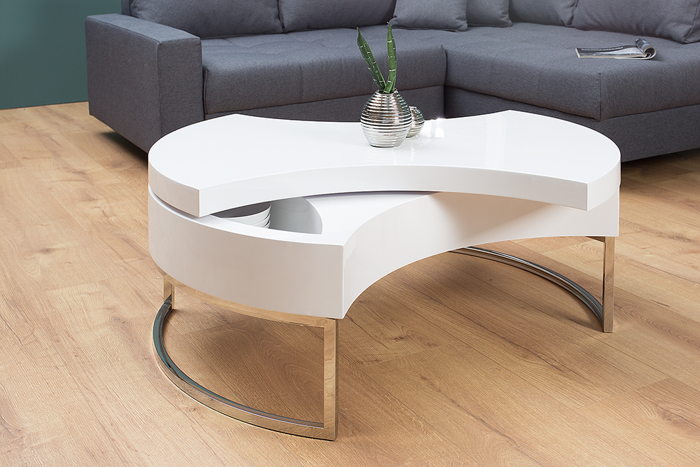 couchtisch turn around hochglanz wei drehbar beistelltisch wohnzimmertisch ebay. Black Bedroom Furniture Sets. Home Design Ideas