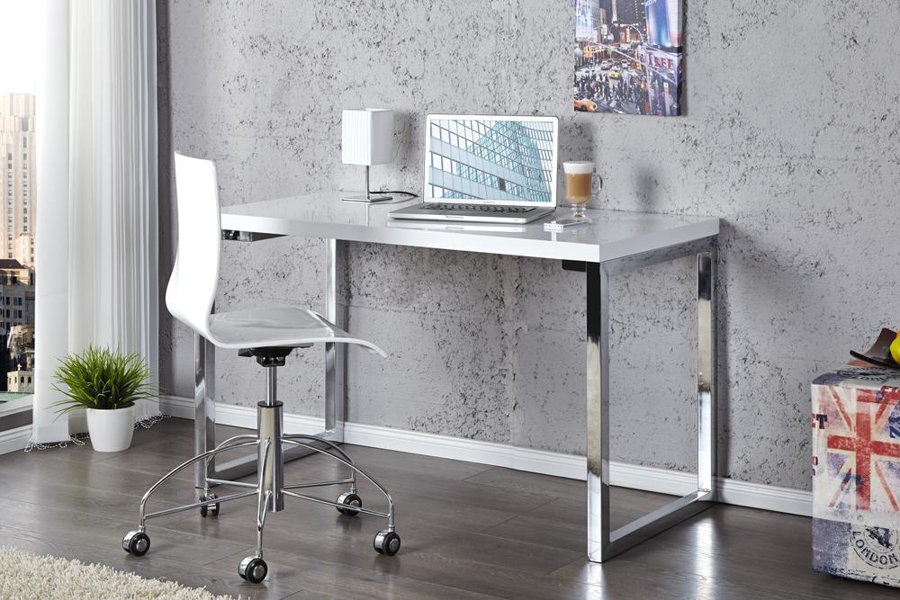 Design Laptoptisch WHITE DESK 120cm hochglanz weiss Schreibtisch Tisch weiß