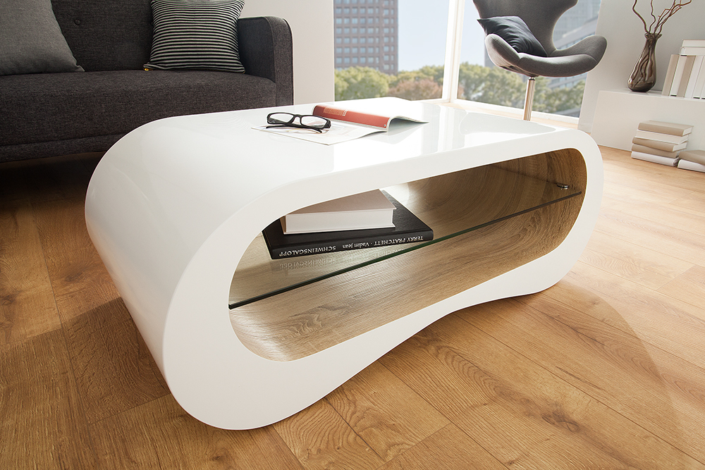Details zu Couchtisch APPARTMENT 110cm weiß Hochglanz Sonoma Eiche Tisch  Sofatisch Retro