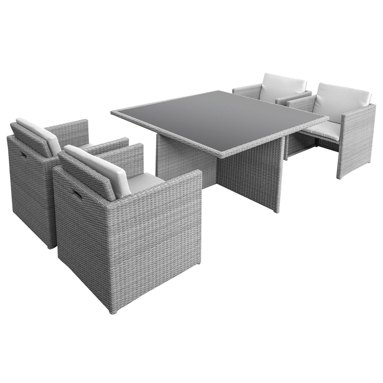 Rattan gartenmöbel grau  anndora GOLKAR Polyrattan Gartenmöbel Grau Sitzgruppe Tisch 4 ...