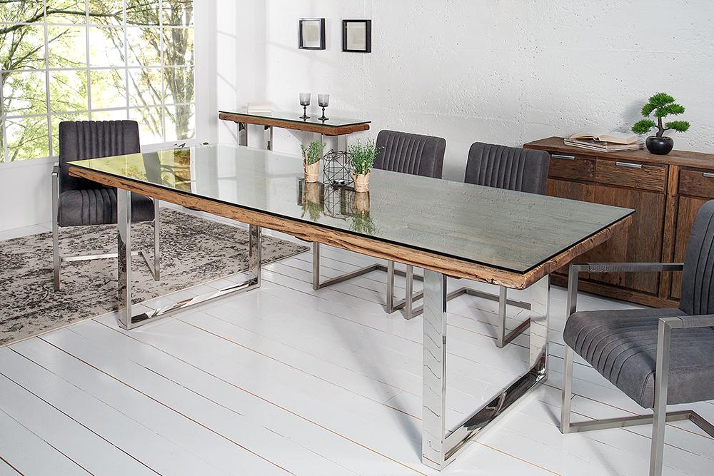 esstisch barracuda antik teak holz mit stahl kufenf en holztisch tische holz ebay. Black Bedroom Furniture Sets. Home Design Ideas