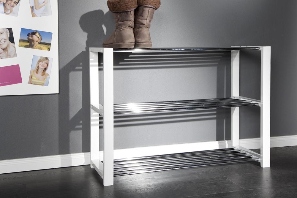 design schuhregal merrit weiss 80cm schuhschrank schuhst nder schuhablage ebay. Black Bedroom Furniture Sets. Home Design Ideas