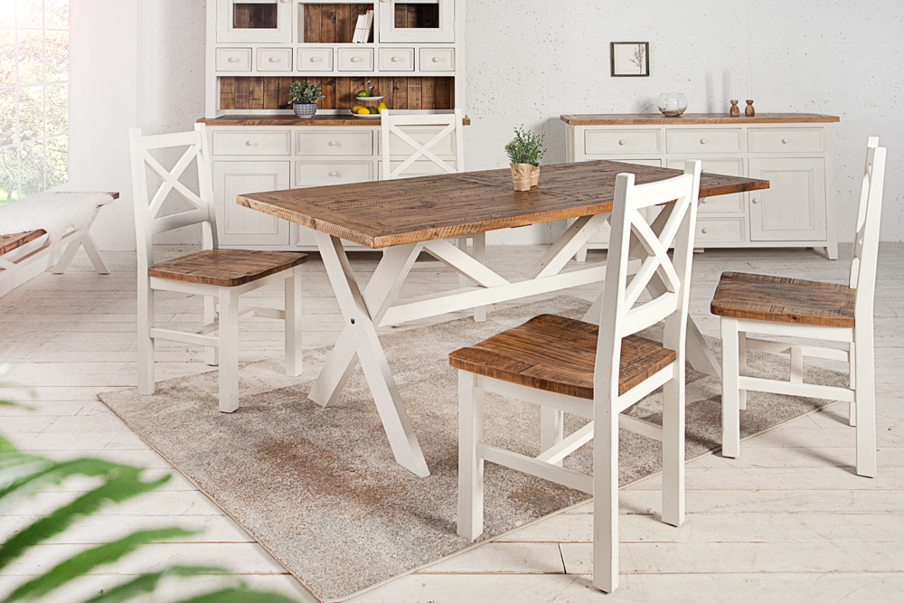 Stuhl BYRON recyceltes Kiefernholz weiß vintage braun